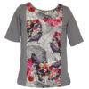 """T-shirt grande taille fille ado """"Dark flowers"""" gris taupe"""